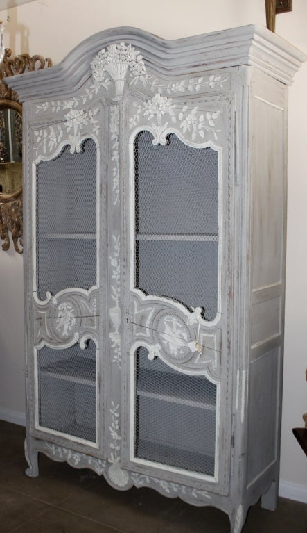 19th c louis xv style painted armoire at 1stdibs. Black Bedroom Furniture Sets. Home Design Ideas