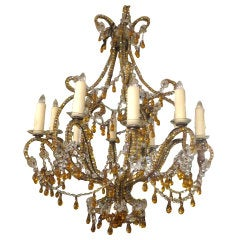 (10) Light Crystal Amber Beaded Chandelier C. 1930
