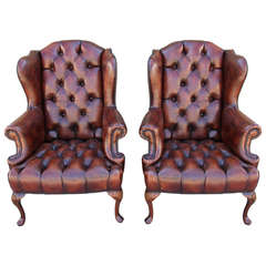 Pair of French Leather Tufted Wingback Chairs