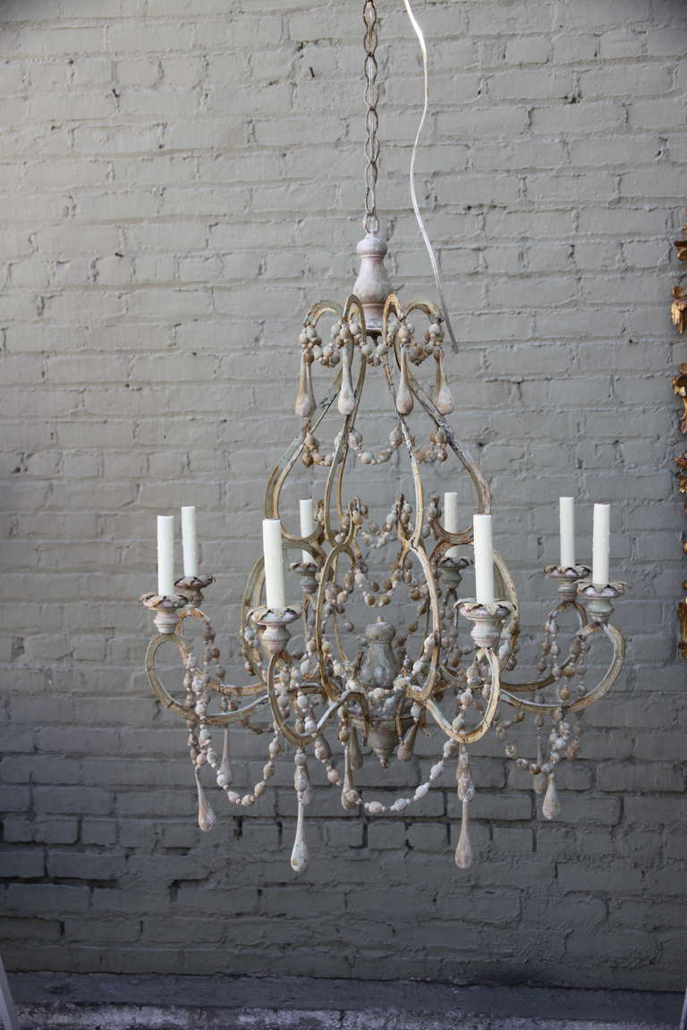 8 Light Italian Painted Wood Beaded Chandelier With Drops Throughout Newly Wired