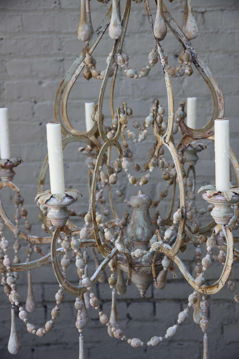 Eight Light Italian Painted Wood Beaded Chandelier For 4
