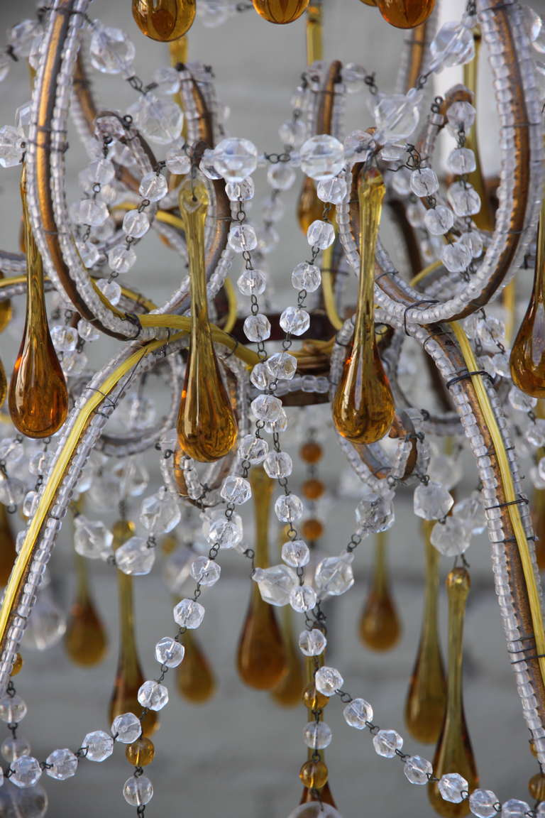 Italian amber drops and crystal chandelier circa 1930s for sale at italian amber drops and crystal chandelier circa 1930s for sale 1 aloadofball Image collections