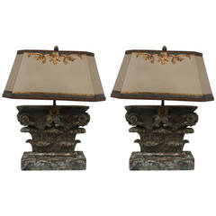 Pair of Italian Carved Capital Lamps with Parchment Shades
