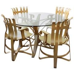 """Frank Gehry """"Face Off"""" Table & """"Hat Trick"""" Chairs (4)"""