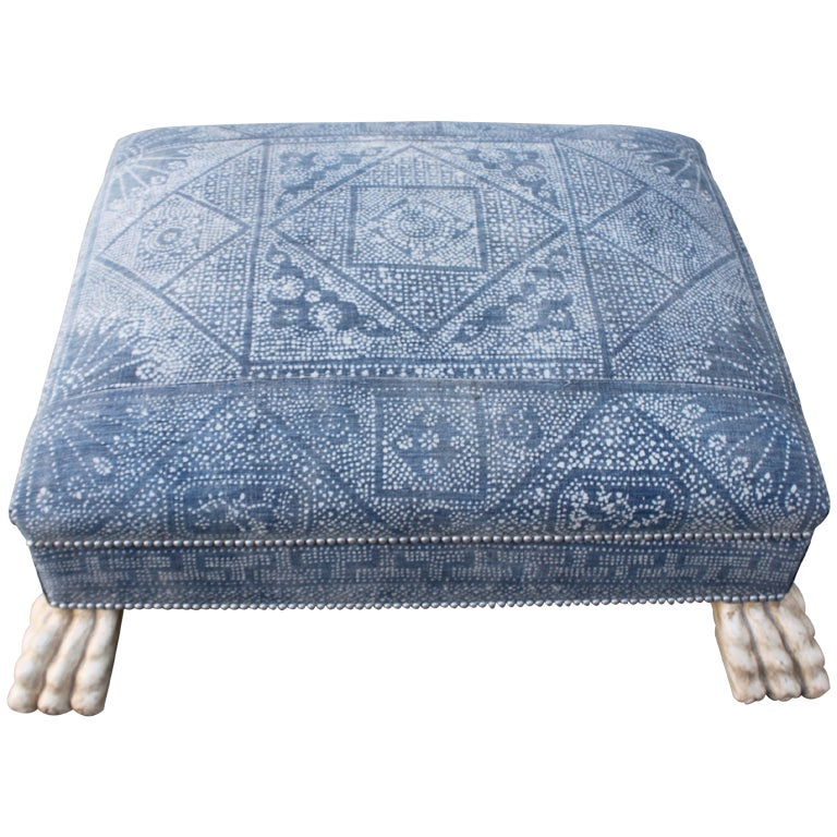 Vintage Batik Textile Ottoman With Paw Feet At 1stdibs