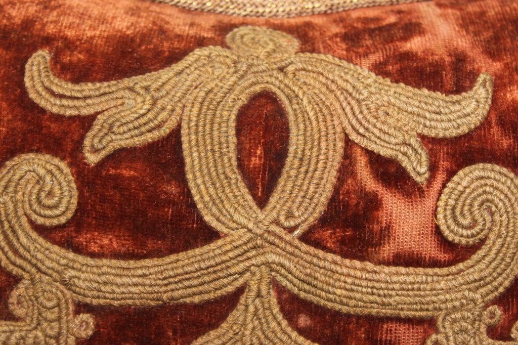 Pair of Vintage Embroidered Velvet Pillows at 1stdibs