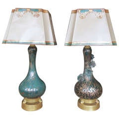 Pair of Teal & Gold Murano Lamps with Parchment Shades