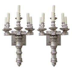 Pair of Silver Gilt 6-Light Sconces