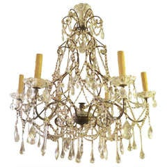 Italian Beaded Crystal Chandelier C. 1930's