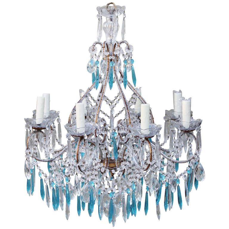 Italian Crystal Beaded Chandelier