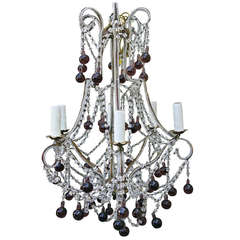Italian Macaroni Crystal Beaded Chandelier with Amethyst Drops