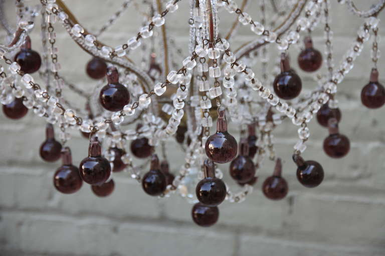 Other Italian Macaroni Crystal Beaded Chandelier with Amethyst Drops For Sale