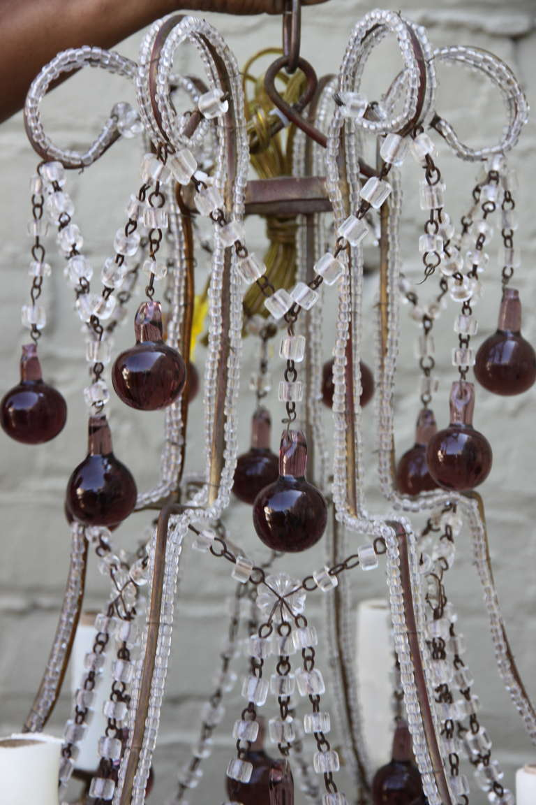 Mid-20th Century Italian Macaroni Crystal Beaded Chandelier with Amethyst Drops For Sale
