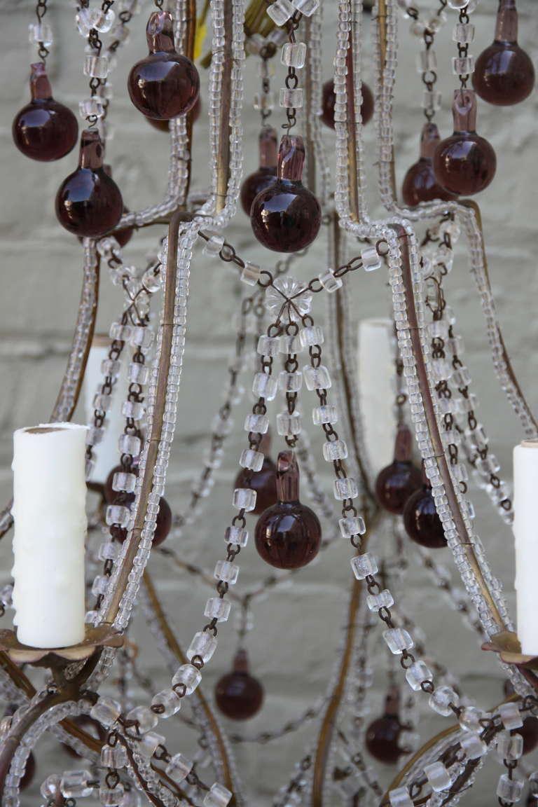 Metal Italian Macaroni Crystal Beaded Chandelier with Amethyst Drops For Sale