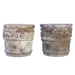 Pair of 19th Century Carved Stone Planters