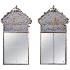 Pair of Monumental Chinoiserie Painted Mirrors