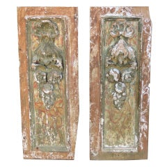 Pair of Italian Carved Painted Architectural Panels
