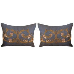 Pair of Metallic & Chenille Embroidered Linen Pillows