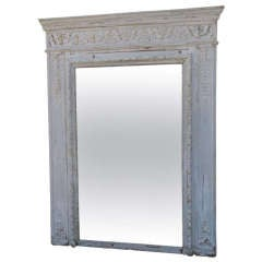 19th C. French Painted Carved Mirror