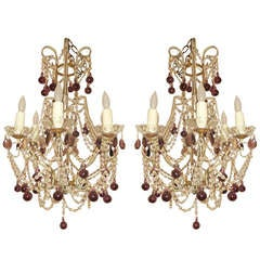 Pair of Crystal Beaded Drop Chandeliers