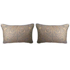 Pair of Periwinkle & Metallic Fortuny Pillow