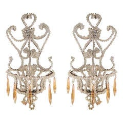 Pair of Crystal Beaded Sconces with Drops