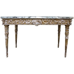 19th C. Italian Neoclassical Style Console with Antique Mirrored Top