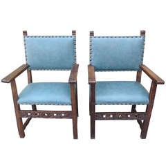 19th c. Spanish Turquoise Leather Armchairs