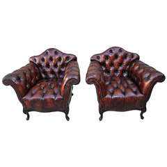 Pair of French Leather Tufted Armchairs