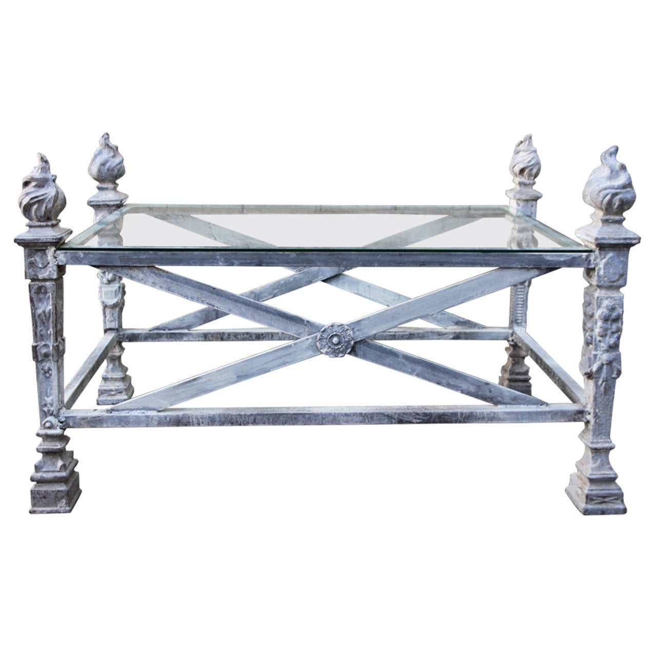 English Coffee Table With Flamed Torch Finials For Sale At 1stdibs