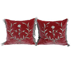 Silver Metallic Appliqued Silk Velvet Pillows, Pair