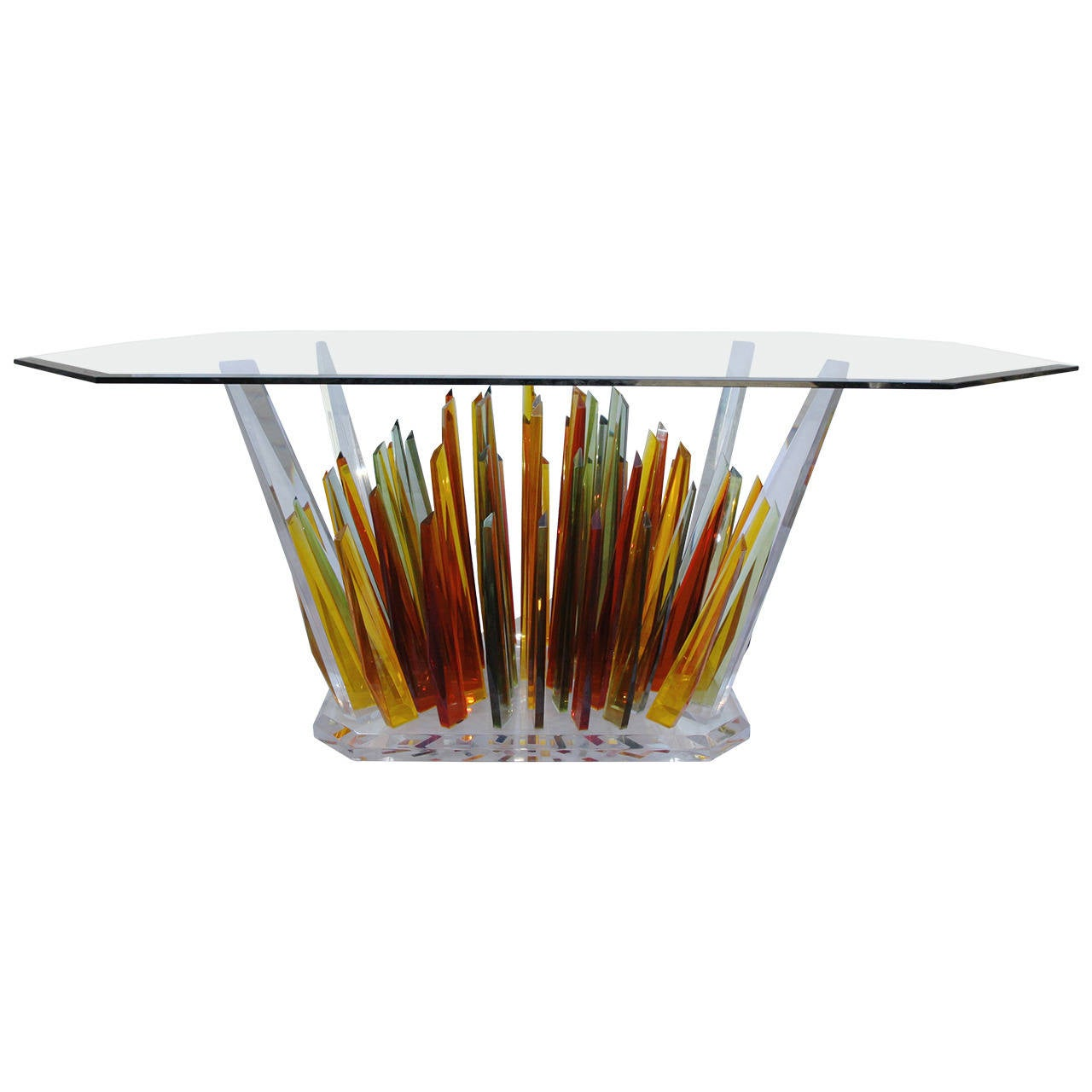 Unique multicolored lucite dining table with glass top at for Unusual table tops