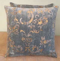 Pair of Blue Velvet Stenciled Pillows