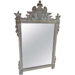 Carved Italian Painted Urn Mirror C. 1930's