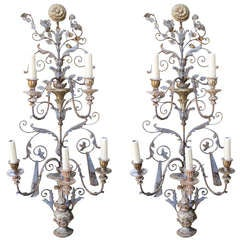 Pair of Italian Carved Wood & Metal Sconces C. 1930's