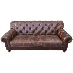 Leather Tufted Sofa C. 1940's