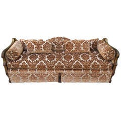Carved Italian Giltwood Upholstered Sofa C. 1900's