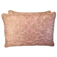 Pair of Pink & Gold Fortuny Pillows