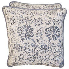 Pair of Blue & White Fortuny Pillows