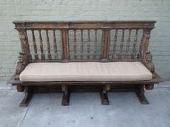 19th C. Italian Carved Cherub Bench