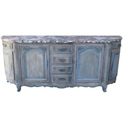 French Painted Credenza with Marble Top, circa 1930s