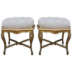 Pair of French Gilt Wood Stools