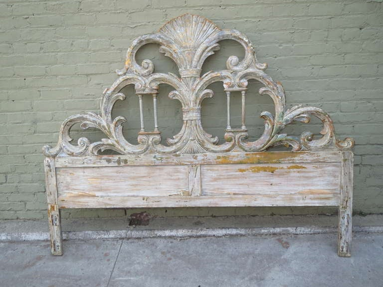 Italian Painted Carved Headboard w/ Columns 2