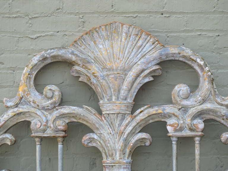 Italian Painted Carved Headboard w/ Columns 3