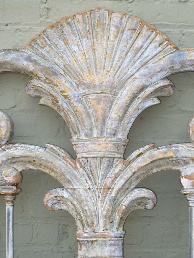 Italian Painted Carved Headboard w/ Columns 4