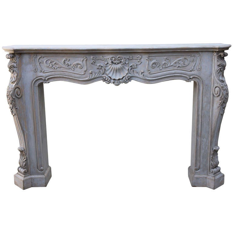 Carved Painted Fireplace Mantel At 1stdibs