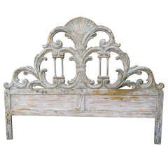Italian Painted Carved Headboard w/ Columns