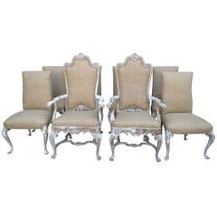 Italian Painted Eight Dining Chairs