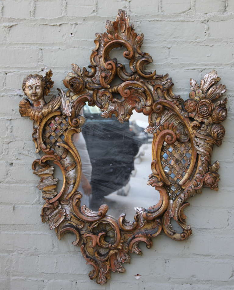 Gilt Pair of Italian Baroque Style Mirrors For Sale