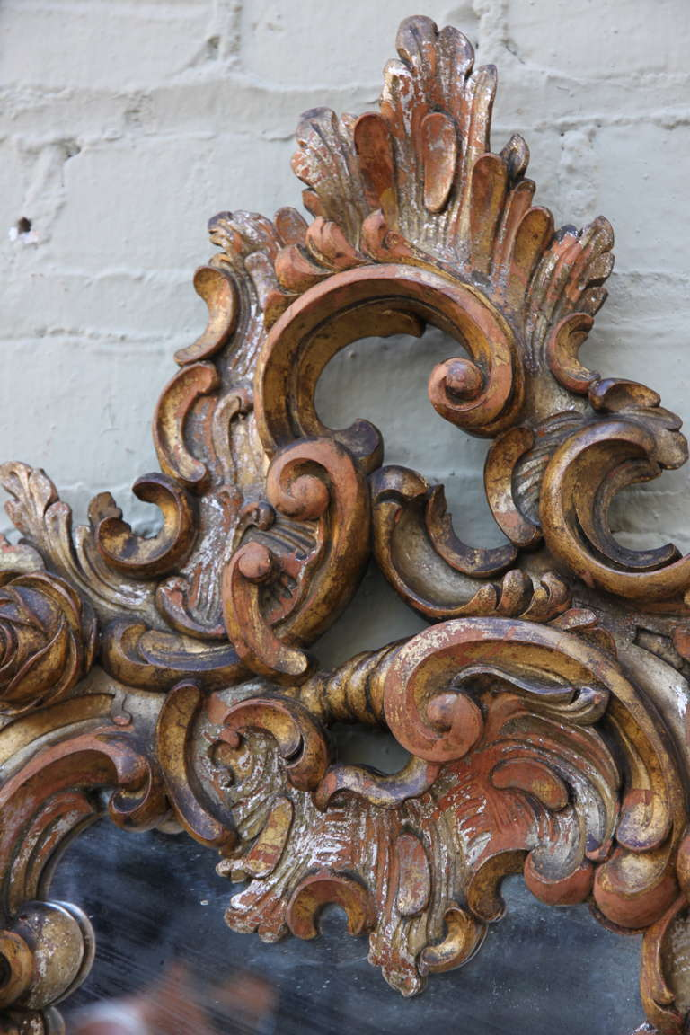 Pair of Italian Baroque Style Mirrors In Distressed Condition For Sale In Los Angeles, CA